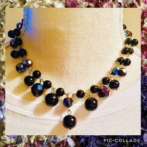 Black & Iridescent Beaded Necklace